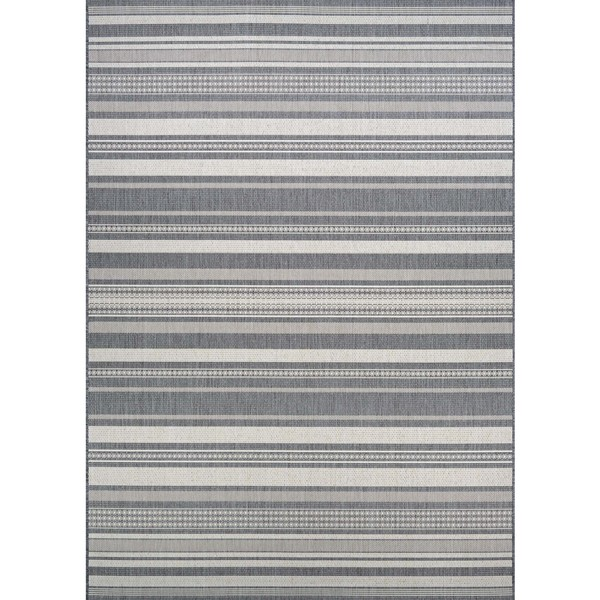 Couristan Recife Gazebo Stripe Champagne/Grey Round Outdoor Area Rug - 7'6 x 7'6