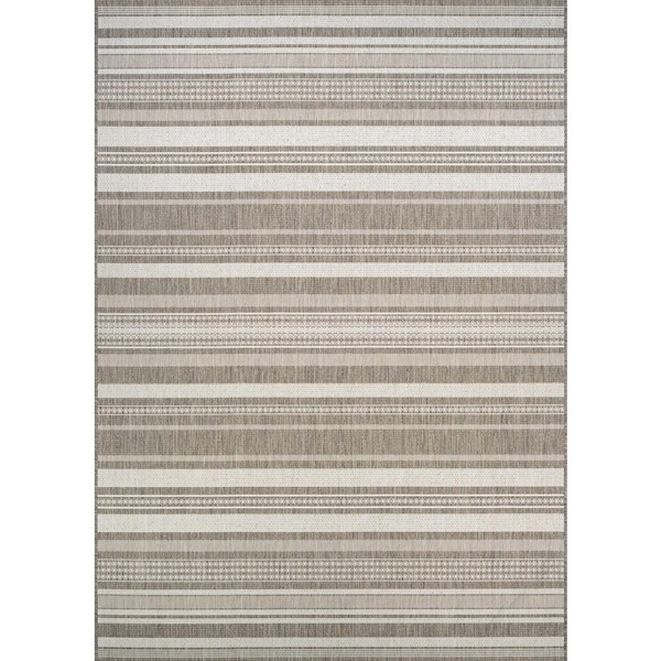 Couristan Recife Gazebo Champagne/Taupe Striped Area Rug - 8'6 x 13'