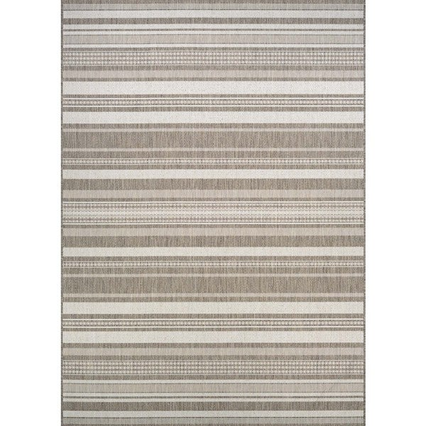 Couristan Recife Champagne/Taupe Gazebo Striped Area Rug - 7'6 x 10'9