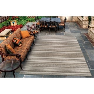 """Pergola Bower Stripe Champagne-Taupe Indoor/Outdoor Area Rug - 2' x 3'7"""""""