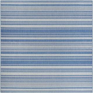 Couristan Recife Gazebo Stripe/Champagne-blue Square Area Rug (8'6 x 8'6)