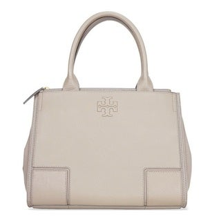 Tory Burch Ella Canvas French Grey Leather Tote Bag