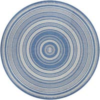 "Pergola Bower Stripe Champagne-Blue Indoor/Outdoor Round Rug - 8'6"" Round"
