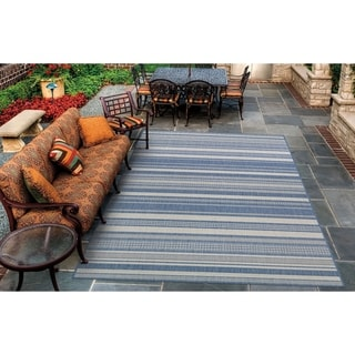 "Pergola Bower Stripe Champagne-Blue Indoor/Outdoor Area Rug - 7'6"" x 10'9"""