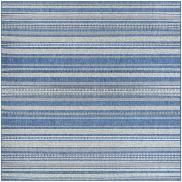 Couristan Recife Gazebo Stripe Champagne-Blue Indoor/Outdoor Square Rug - 7'6 x 7'6