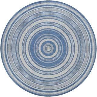 """Pergola Bower Stripe Champagne-Blue Indoor/Outdoor Round Rug - 7'6"""" Round"""