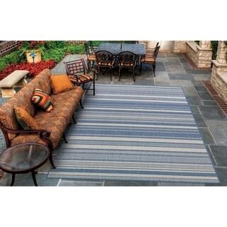 Couristan Recife Gazebo Stripe/Champagne-Blue Indoor/Outdoor Rug - 5'10 x 9'2