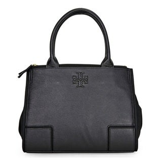 Tory Burch Ella Canvas Leather Black/Black Small Tote Bag
