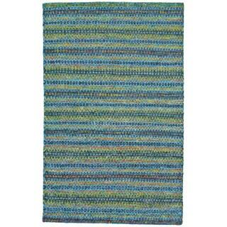 Grand Bazaar Samarra Aura Blue/Green Viscose, Jute, and Cotton Hand-knotted Rug (9'6 x 13'6)