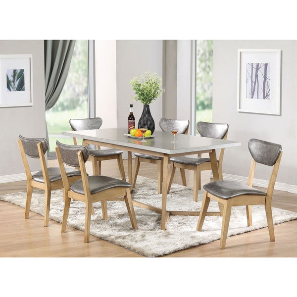 Acme Furniture Rosetta Light Grey And Antique Beige Dining Table