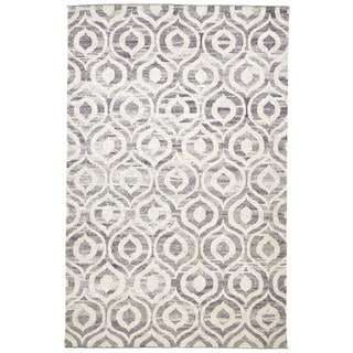 Grand Bazaar Grey/Beige Viscose Hand-knotted Ainsley Rug (8'6 x 11'6)