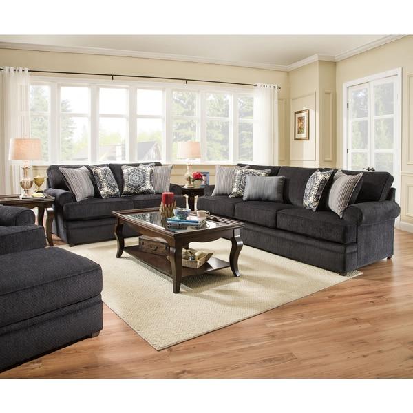 Shop Simmons Upholstery Bellamy Slate Sofa Free Shipping