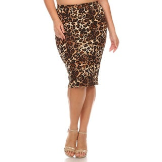 Women's Brown Plus Size Animal Pattern Pencil Skirt