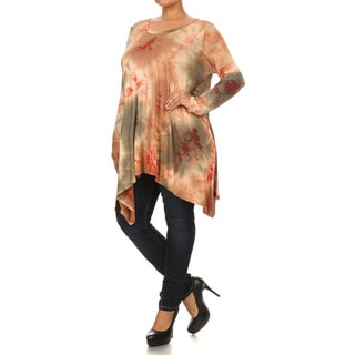 Women's Burgundy Rayon and Spandex Plus-size Tie-dye Tunic