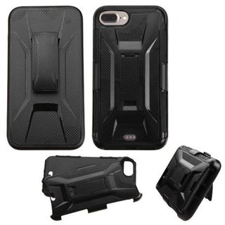 Insten Black Hard PC/ Silicone Dual Layer Hybrid Case Cover with Holster For Apple iPhone 7 Plus