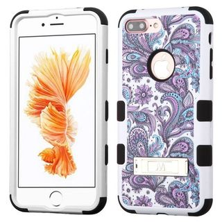 Insten Purple/ White European Flowers Tuff Hard PC/ Silicone Dual Layer Hybrid Case Cover with Stand For Apple iPhone 7 Plus