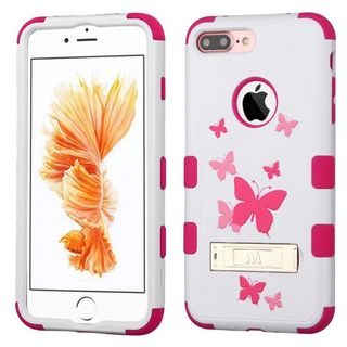 Insten Pink Butterfly Dancing Tuff Hard PC/ Silicone Dual Layer Hybrid Case Cover with Stand For Apple iPhone 7 Plus