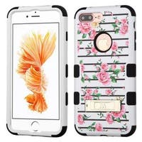 Insten Pink/ White Fresh Roses Tuff Hard PC/ Silicone Dual Layer Hybrid Case Cover with Stand For Apple iPhone 7 Plus
