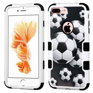 Insten Black/ White Soccer Ball Collage Tuff Hard PC/ Silicone Dual Layer Hybrid Case Cover For Apple iPhone 7 Plus