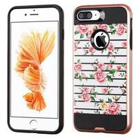 Insten Pink/ White Fresh Roses Hard PC/ Silicone Dual Layer Hybrid Rubberized Matte Case Cover For Apple iPhone 7 Plus