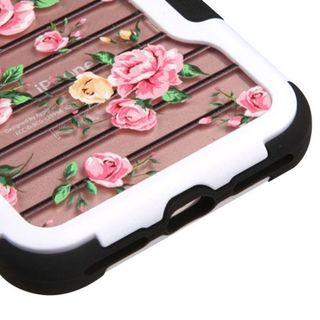 Insten Pink/ White Fresh Roses Hard PC/ Silicone Dual Layer Hybrid Rubberized Matte Case Cover For Apple iPhone 7