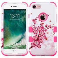 Insten Pink Spring Flowers Tuff Hard PC/ Silicone Dual Layer Hybrid Rubberized Matte Case Cover For Apple iPhone 7