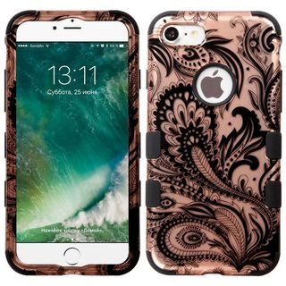 Insten Rose Gold/ Black Phoenix Flower Tuff Hard PC/ Silicone Dual Layer Hybrid Rubberized Matte Case Cover For Apple iPhone 7