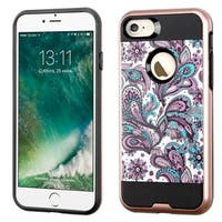 Insten Purple/ White European Flowers Hard Snap-on Dual Layer Hybrid Case Cover For Apple iPhone 7