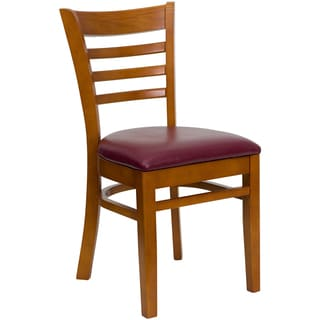 Spencer Cherry Wood Burgundy Upholstered Classic Dining Chairs