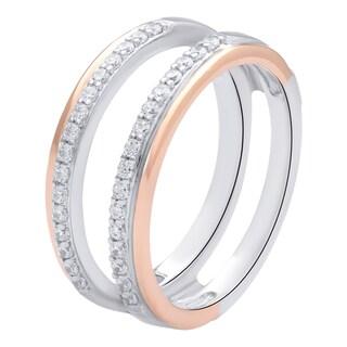 Bridal Symphony 14k Two-tone Gold 3/8ct TDW White Diamond Guard Ring (I-J, I1-I2)