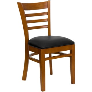 Spencer Cherry Wood Black Upholstered Classic Dining Chairs