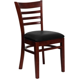 Spencer Mahogany Wood Black Upholstered Classic Dining Chairs