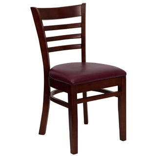 Spencer Mahogany Wood Burgundy Upholstered Classic Dining Chairs