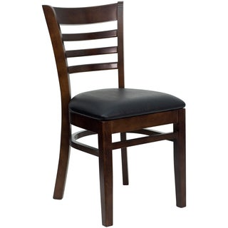 Spencer Walnut Wood Black Upholstered Classic Dining Chairs
