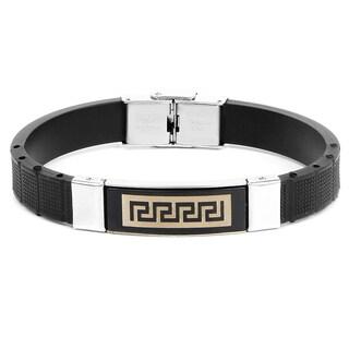 Liliana Bella Men's Black Faux Leather Bracelet