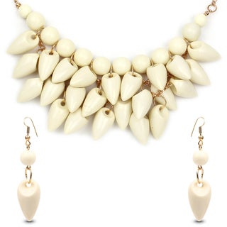 Liliana Bella Gold Plated with Cream Stone Fashion Necklace and Earring Set