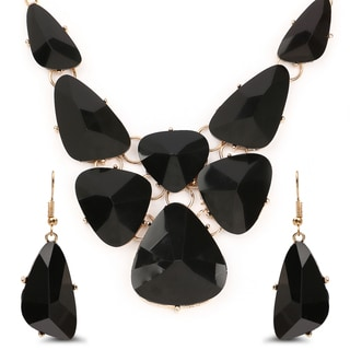 Liliana Bella Goldplated Black Stone Fashion Necklace and Earrings Set