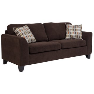 Porter Brighton Chocolate Brown Textured Microfiber Contemporary Sleeper Sofa with 2 Woven Accent Pillows