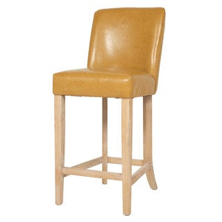 Lily Yellow Leather Counter Stool