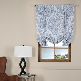 Exclusive Fabrics Tea Time China Blue Blackout Tie-up Window Shade
