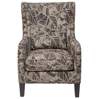 Porter Penelope Black and Cream Floral Leaf Pattern Wingback Whitman Chair with Antique Bronze Nailhead and Lumbar Pillow