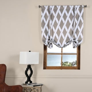Exclusive Fabrics Crosshatch Grey Blackout Tie-up Window Shade