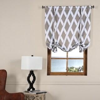 Exclusive Fabrics Crosshatch Grey Blackout Tie-up Window Shade