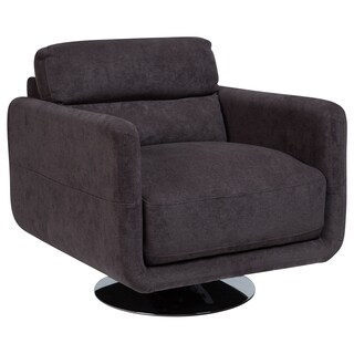 Porter Chelsea Gray Microfiber Swivel Accent Chair