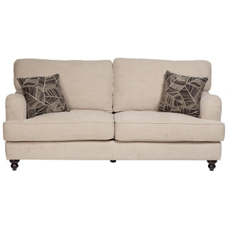 Porter Penelope Oyster Beige Transitional Sofa with Turned Legs and 2 Woven Floral Leaf Throw Pillows