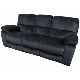 Porter Ramsey Slate Grey Embossed Microfiber Dual Reclining Sofa