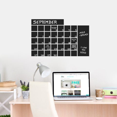 Chalkboard Calendar Wide 24 x 16 Wall Decal