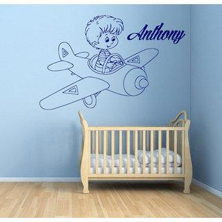 Baby on Plane Vinyl Sticker Boy Personalized Name Kids Room Decor Home Decor Sticker Decal size 44x4