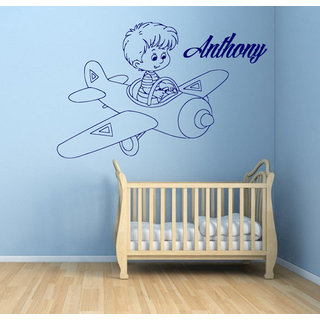 Baby on Plane Vinyl Sticker Boy Personalized Name Kids Room Decor Home Decor Sticker Decal size 48x48 Color Black