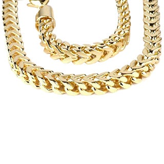 Elora 14k Yellow Gold Men's Franco Chain Necklace